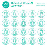 People line icons, business woman avatars. Outline symbols of female professions, secretary, manager, teacher, student Stock Photography
