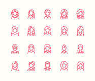 People line icons, business woman avatars. Outline symbols of female professions, secretary, manager, teacher, student Stock Images