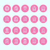 People line icons, business woman avatars. Outline symbols of female professions, secretary, manager, teacher, student Royalty Free Stock Image