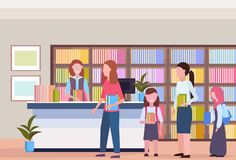 People in line queue borrowing books from librarian modern library bookstore interior bookcase with books reading. Education knowledge concept flat horizontal vector illustration