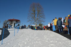 People in the line to chairlift Royalty Free Stock Image