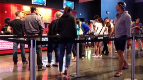 People line up for buying movie ticket at cinema Royalty Free Stock Photos