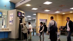 People line up for withdrawing money stock video footage