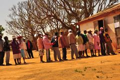 People in line voting. Madagascar 2013 elections Stock Photos