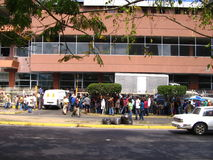 People lining up to buy personal care products in Puerto Ordaz, Venezuela. stock photo
