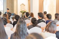 People listen in business seminar hall of hotel room Royalty Free Stock Photos