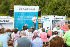 People listen to Alexey Navalny's performance Royalty Free Stock Photo