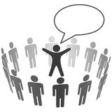 People listen to leader announcement speech bubble Royalty Free Stock Photography