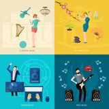 People Listening Music. Design concept set with classical relaxing techno rock flat icons isolated vector illustration Stock Image