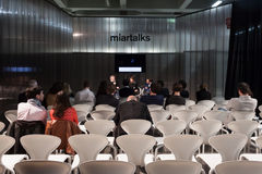 People listening to a conference at Miart 2014 Stock Photo