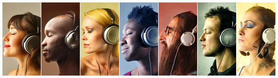 People listening to music. Group of people with headphones listening to music royalty free stock photo