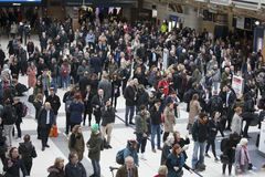 People at Liverpool Street station. Opened in 1874 it is third busiest and one of the main railway stations in UK, with connection Stock Photo