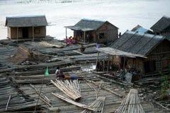 People living bamboo raft. Royalty Free Stock Photos