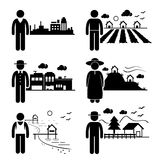 People Living in Different Places. A set of human pictogram representing people in different places such as city, cottage house, highlands, seaside, village, and Royalty Free Stock Photography