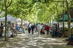 People at local Farmers market with fresh organic food royalty free stock photo