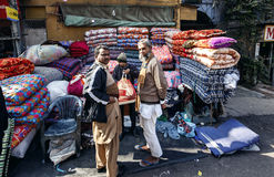 People on local textile market in Delhi Royalty Free Stock Photo