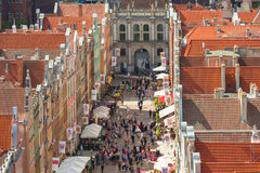 People on the Long Lane in Gdansk, Poland Stock Photo