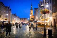 People on the Long Lane of the old town in Gdansk at night, Poland Stock Photos