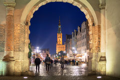 People on the Long Lane of the old town in Gdansk at night Stock Photo