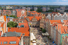 People on the Long Lane of the old town in Gdansk, Poland Royalty Free Stock Photo