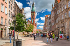 People on the Long Lane of the old town in Gdansk, Poland Stock Images