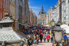 People on the Long Lane street in old town of Gdansk, Poland Royalty Free Stock Photography