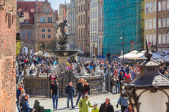 People on the Long Lane street in old town of Gdansk, Poland Stock Photography