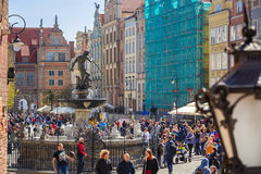 People on the Long Lane street in old town of Gdansk, Poland Stock Images