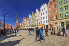People on the Long Lane street in old town of Gdansk Stock Images