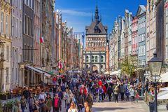 People on the Long Lane street in old town of Gdansk Royalty Free Stock Photography