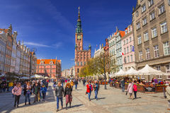 People on the Long Lane street in old town of Gdansk Royalty Free Stock Images