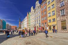 People on the Long Lane street in old town of Gdansk Stock Image