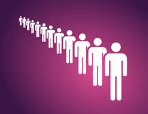 People in a long queue on the violet background Royalty Free Stock Image
