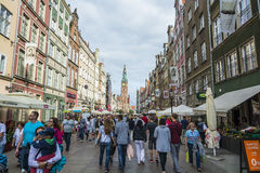 People on Long street Gdansk Royalty Free Stock Image