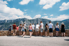 People look at mountains from lookout in Gorges Du Verdon in sou Royalty Free Stock Photography