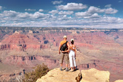 Couple Enjoying Beautiful Grand Canyon Landscape Royalty Free Stock Photos