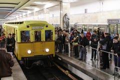 People look vintage subway cars Stock Image