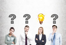 People looking for answers, concrete Royalty Free Stock Image