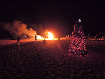 People looking at fireworks on the beach of Candolim Royalty Free Stock Photo