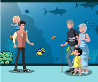 People looking at fish in the aquarium. Vector illustration Royalty Free Stock Photos