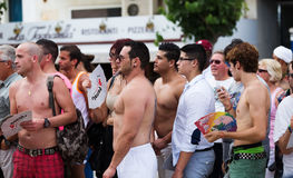 People looking Gay pride parade in Sitges Stock Photo