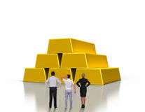 People looking on gold ingots Stock Images