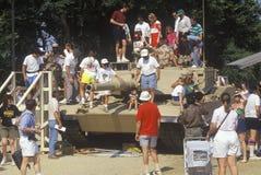 People Looking at Military Tank on Display, Washington, D.C. Royalty Free Stock Photo