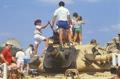 People Looking at Military Tank on Display, Washington, D.C. Stock Image