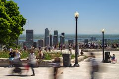 People looking at Montreal Skyline from Mont Royal lookout royalty free stock photos