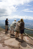 People looking at the panorama. People viewing at a stunning view from Vesuvio volcano near Napoli, Italy royalty free stock photography