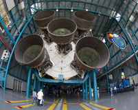 Saturn V rocket. People looking at Saturn V rocket in Kennedy Space Center, Florida, U,S,A Royalty Free Stock Images