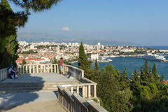 People at a lookout at Marjan in Split Royalty Free Stock Image