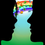 People in love under rainbow. Illustration on couple looking at each other under rainbow, butterflies and over the grass Stock Photography