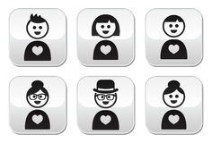 People in love, valentine's day buttons set Stock Photography